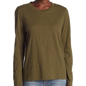Madewell NWT Dark Olive Long Sleeve Crew Neck Tee